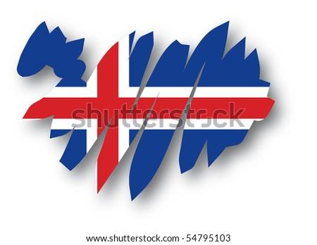 map flag Iceland