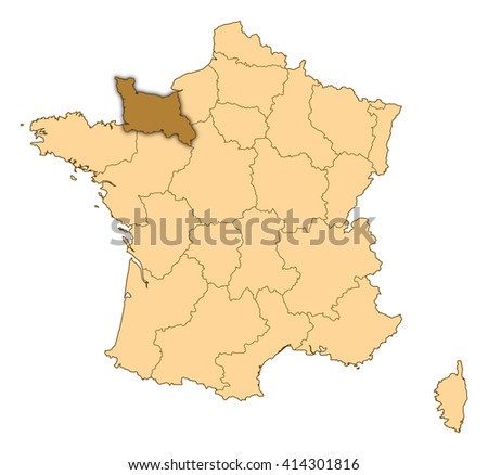Map France Lower Normandy Ez Canvas
