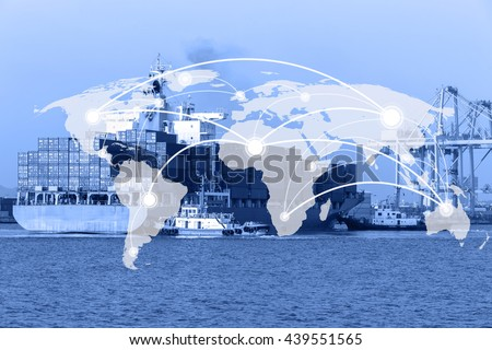 Map global connection concept,Industrial Container Cargo freight ship for Logistic Import Export background background (Elements of this image furnished by NASA)