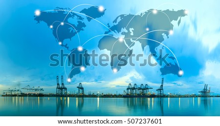 Map global logistics partnership connection of Container Cargo freight ship for Logistics Import Export background, Global logistics network transportation maritime shipping #507237601