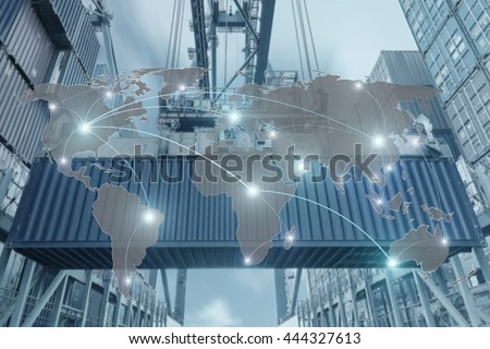 Map global partner connection of Container Cargo freight ship for Logistic Import Export background (Elements of this image furnished by NASA)