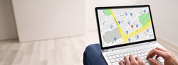 Map Location Search On Laptop Screen At Home