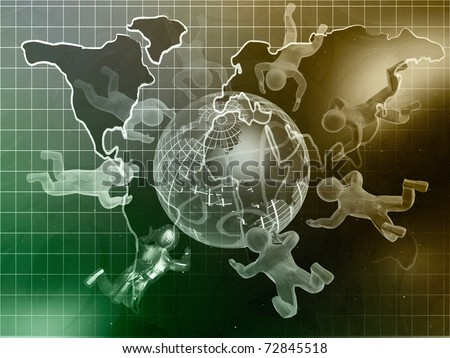 Map, mans and globe against star background - collage.