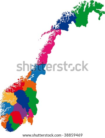 Map of administrative divisions of Norway - stock photo