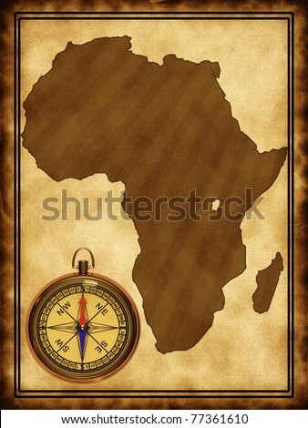 Map of Africa on the old background with a compass