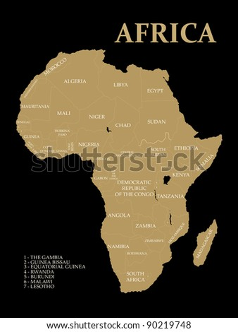Map of Africa on the white background