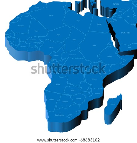 Map of Africa with national borders and country names. Raster version. Vector version is also available.