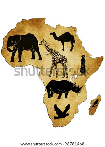 Map of Africa with pictures of animals