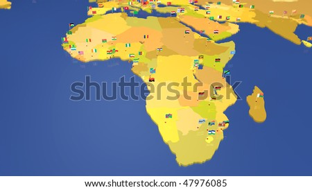 Map of African continent. Each capital city has the national flag waving in the wind. Other continents / countries also available (see portfolio).
