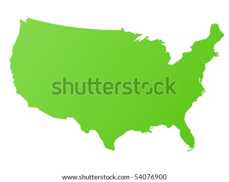 Map of America or USA, isolated on white background.