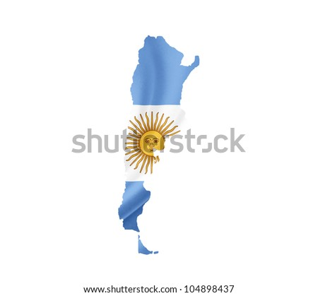 Map of Argentina with waving flag isolated on white