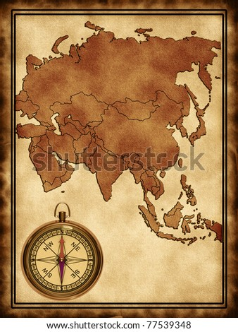 Map of Asia on the old background with a compass