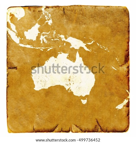 Map of Australia blank in old style. Brown graphics in a retro mode on ancient and damaged paper.  Basic image of earth courtesy NASA.