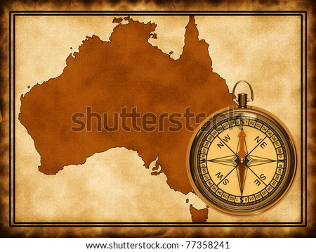 Map of Australia on the old background with a compass