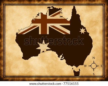 Map of Australia on the old background with a flag
