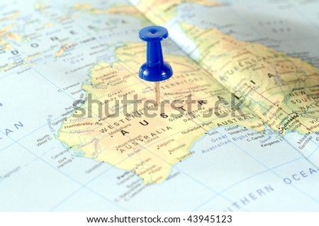 Map of Australia with a blue tag