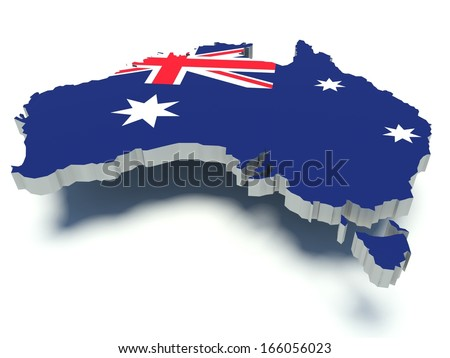 Map of Australia with flag colors. 3d render illustration. Isolated on white.