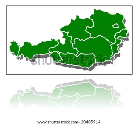 map of austria detailed illustration