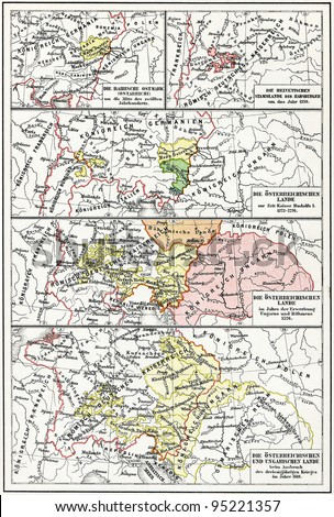 Map of Austria-Hungary from the 12th century to the 17th century. Publication of the book \