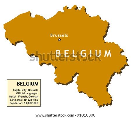 Map of Belgium with country information data table. - stock photo