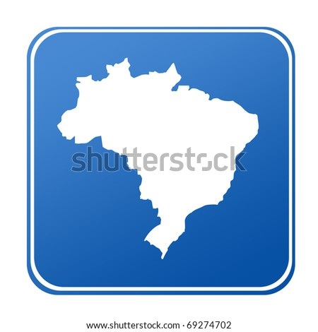 Map of Brazil on blue button; isolated on white background.