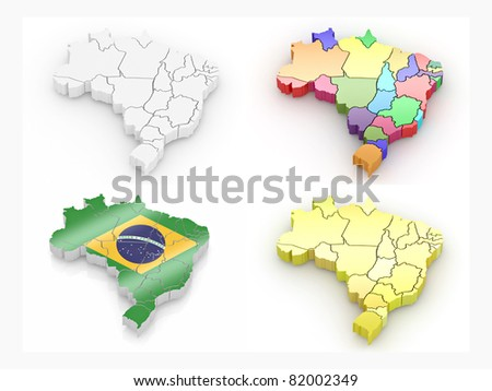 Map of Brazil on white isolated background. 3d
