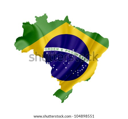 Map of Brazil with waving flag isolated on white - stock photo
