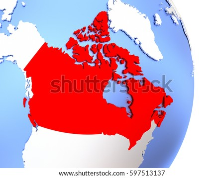 Map Of Canada On Globe.Map Of Canada On An Elegant Polished Globe 3d Illustration Ez Canvas
