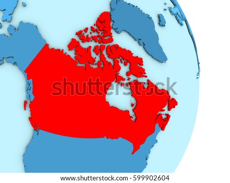 Map Of Canada On Globe.Map Of Canada On Blue Globe With Visible Country Borders And