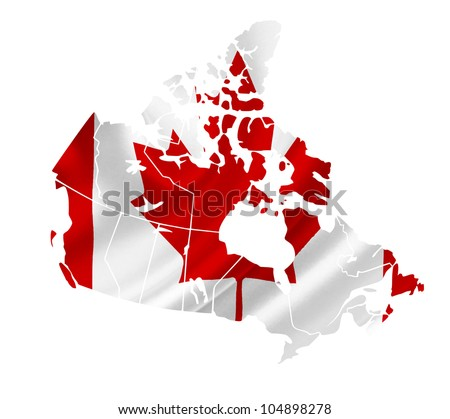 Map of Canada with waving flag isolated on white