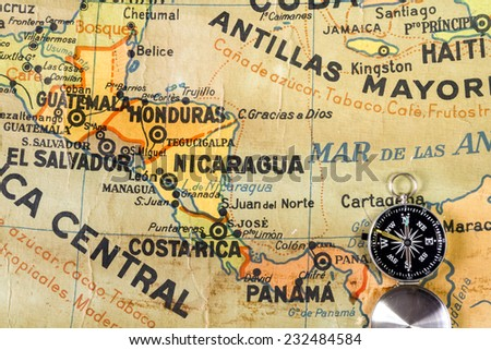 Shutterstock Map of Central America, the Antilles and the Caribbean written with misspellings. It comes from a Spanish school. Published 1969.
