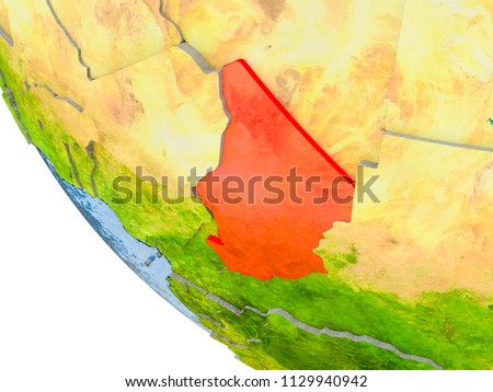 Map of Chad in red on globe with real planet surface, embossed countries with visible country borders and water in the oceans. 3D illustration. Elements of this image furnished by NASA.