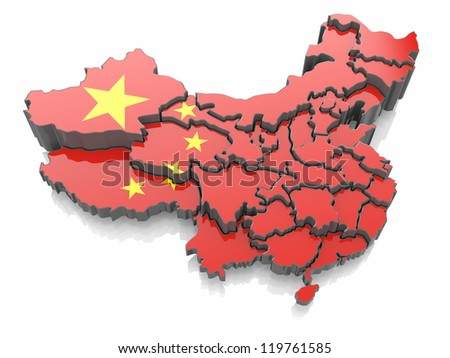 Map of China in national flag colors. 3d