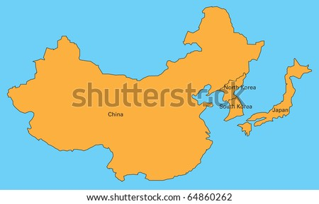 Map Of Japan And China. stock photo : map of china,