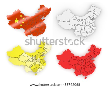 Map of China on white isolated background. 3d