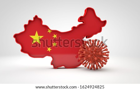 Map of China with deadly corona virus. 3D Rendering
