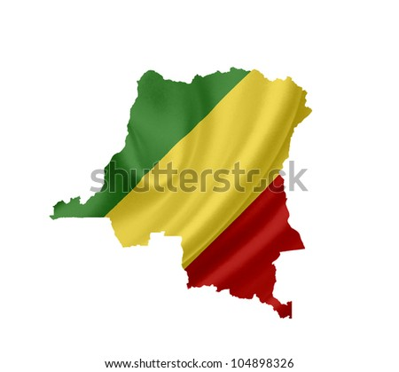 Map of Congo with waving flag isolated on white