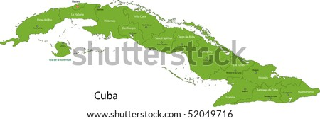 map of cuba with provinces and capital cities stock photo 52049716