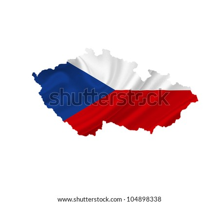 Map of Czech Republic with waving flag isolated on white - stock photo