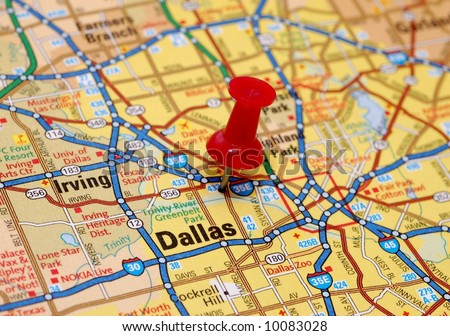 Map of Dallas with red push pin
