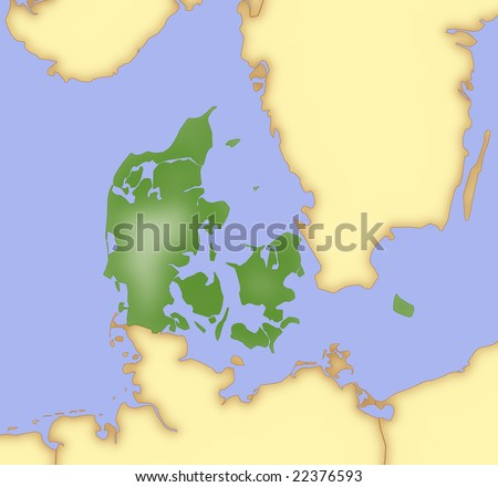 stock photo : Map of Denmark, with borders of surrounding countries.