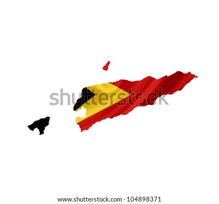 Map of East Timor with waving flag isolated on white