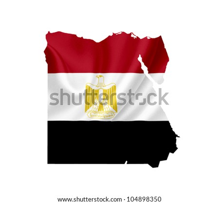 Map of Egypt with waving flag isolated on white