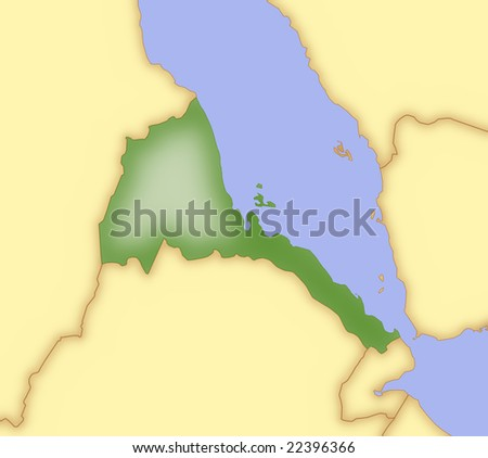 map of morocco and surrounding countries. stock photo : Map of Eritrea, with borders of surrounding countries.