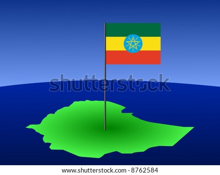 map of Ethiopia and Ethiopian flag on pole illustration