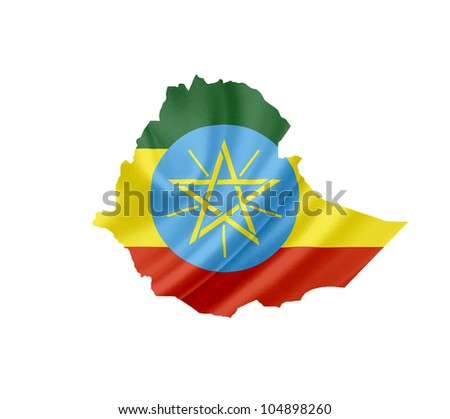 Map of Ethiopia with waving flag isolated on white