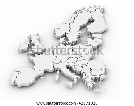 map of europe. 3d - stock photo