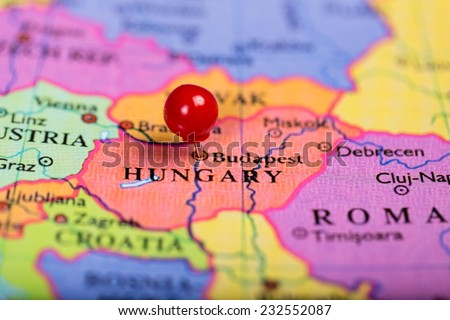 Free budapest geography hungary map 77690 stock photo avopix map of europe with a round red push pin placed on the city of budapest gumiabroncs Image collections