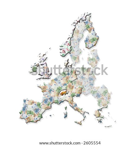 Map Of Europe With Eurozone Countries, And Non-Eurozone Countries ...