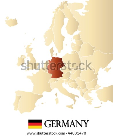 map of europe with marked GERMANY